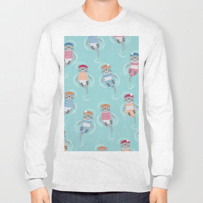 Otters Aqua Blue Pattern Long Sleeve T-shirt