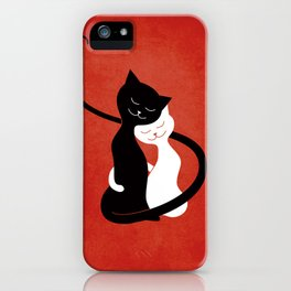White And Black Cats In Love (red) iPhone Case