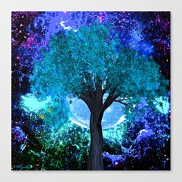 TREE MOON NEBULA DREAM Canvas Print