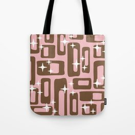 Retro Mid Century Modern Abstract Pattern 780 Pink and Brown Tote Bag