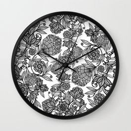 Floral illustration of climbing flowers Wall Clock