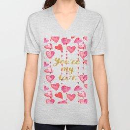 You Are My Love - Valentine Watercolor Unisex V-Neck