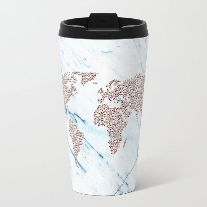 Rosegold stars on blue marble world map travel mug by mapmaker rosegold stars on blue marble world map travel mug sciox Image collections