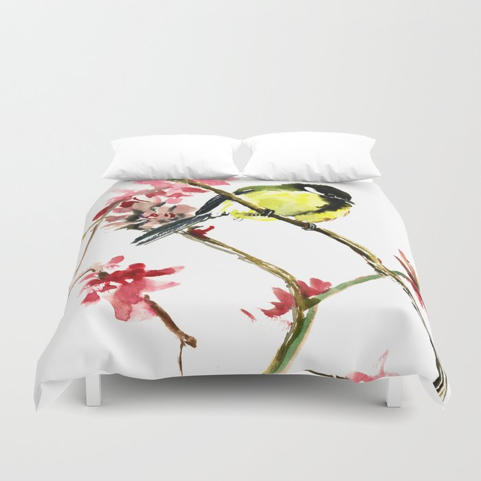 Great Tit and Spring Blossom Duvet Cover