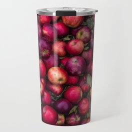 A photograph of a bunch of red apples freshly picked. Travel Mug