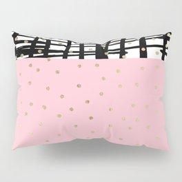 Modern geometrical black pink faux gold polka dots Pillow Sham