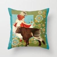 bull Throw Pillows featuring BULL**** by Julia Lillard Art