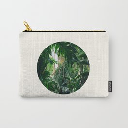 Mid Century Modern Round Circle Photo Graphic Design Green Tropical Jungle Leaves Carry-All Pouch