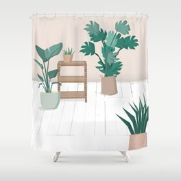 A house with plants is a home Shower Curtain