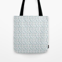Blue Watercolor Peonies Floral Pattern Small Tote Bag