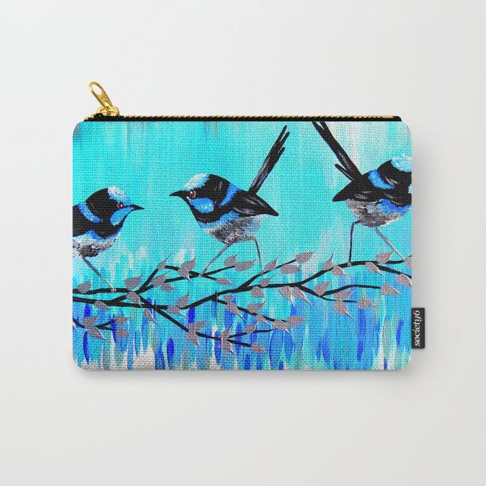 Aqua Fairy Wrens Carry-All Pouch