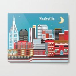 Nashville, Tennessee - Skyline Illustration by Loose Petals Metal Print
