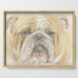 Bully ENGLISH BULLDOG FACE Dog portrait Watercolor painting  Cute Pet decor for Dog Lover Serving Tray