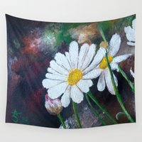 daisies Wall Tapestries featuring Daisies  by ANoelleJay