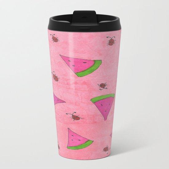 Watermelons and Lady Bugs Metal Travel Mug