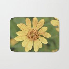 Beautiful Yellow Vintage Flower Bath Mat