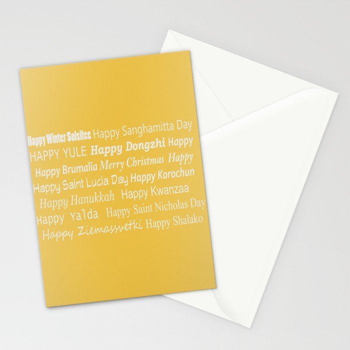 Happy Holidays! in Gold Stationery Cards