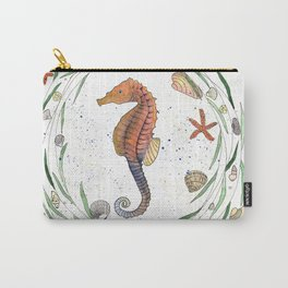 Seahorse illustration with nautical wreath Carry-All Pouch