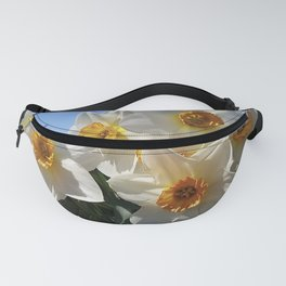 Sunny Faces of Spring - Gold and White Narcissus Flowers Fanny Pack