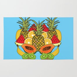 Turquoise Tropical Fruit Rug