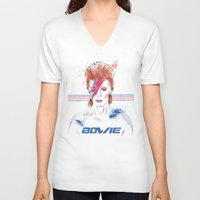 bowie V-neck T-shirts featuring Bowie by Usagi Por Moi