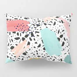 Coral Mint Gold Abstract Art Pattern with Terrazzo Stone Background Pillow Sham