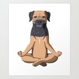 Yoga Border Terrier Dog Art Print