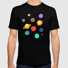 planets and stars Black MEDIUM Mens Fitted Tee
