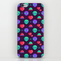 kawaii iPhone & iPod Skins featuring Kawaii Aliens by badOdds