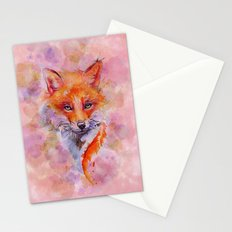 Watercolor colorful Fox Stationery Cards