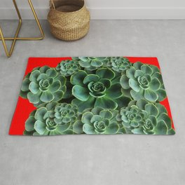 CHINESE  RED ART JADE GREEN SUCCULENTS Rug