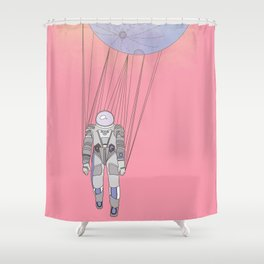 The Moon-Man Floating Through the Pink Universe Shower Curtain