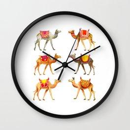 Cute watercolor camels Wall Clock