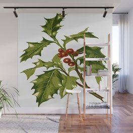 Holly Christmas Red Berry Wall Mural