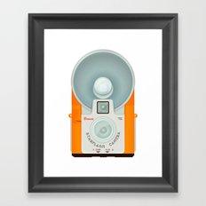 VINTAGE CAMERA ORANGE Framed Art Print