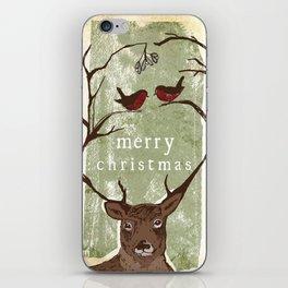 Reindeer Mistletoe Christmas Card iPhone Skin