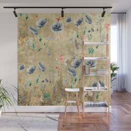 Fishes & Garden #Gold-plated Wall Mural