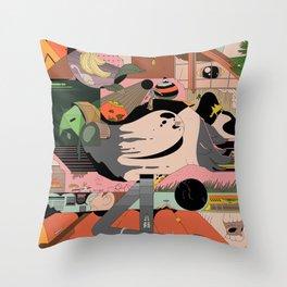 Modern Pizza Bird House Throw Pillow