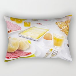 I - Table full with continental breakfast items, brightly lit Rectangular Pillow
