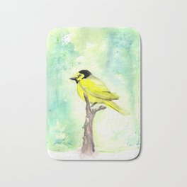 Hooded warbler in watercolor Bath Mat