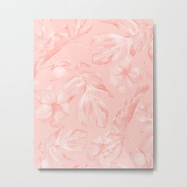 Tropical Dream Palm Leaves Pink Metal Print