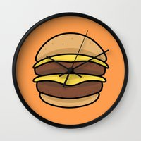 burger Wall Clocks featuring BURGER by KODYMASON