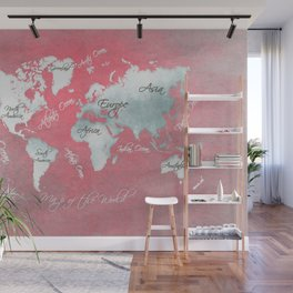 world map 143 red white #worldmap #map Wall Mural
