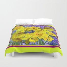 Lemon Yellow Spring Daffodils Garden Purple Art Duvet Cover