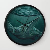 "biology Wall Clocks featuring ""Eclipse"" - Green Sea Turtle, Acrylic by Amber Marine"