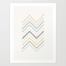 Mixed Zig Zag - in Marigold Art Print