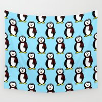 penguins Wall Tapestries featuring Penguins by The Wellington Boot