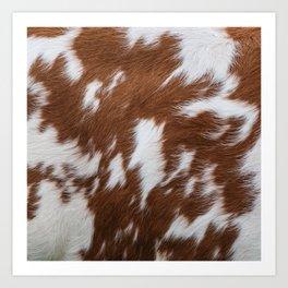 Brown and White Cowhide, Cow Skin Pattern, Farmhouse Decor Art Print