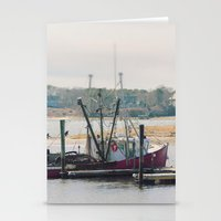 cape cod Stationery Cards featuring Cape Cod Fishing Boat by ELIZABETH THOMAS Photography of Cape Cod