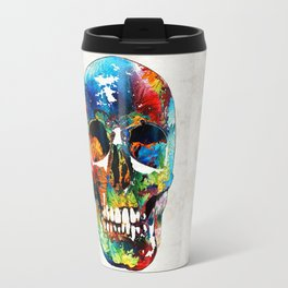 Colorful Skull Art - Aye Candy - By Sharon Cummings Travel Mug